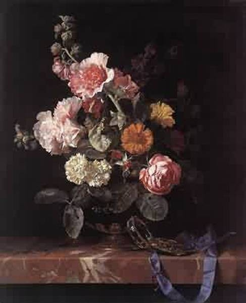 vase of flowers with watch 1656 XX staatliche museen kassel